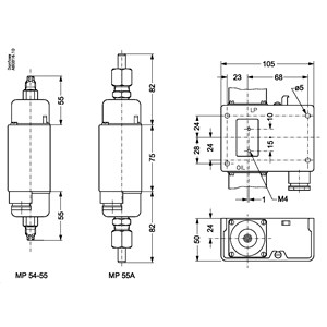 Product name: Differential pressure switch, Type: MP54